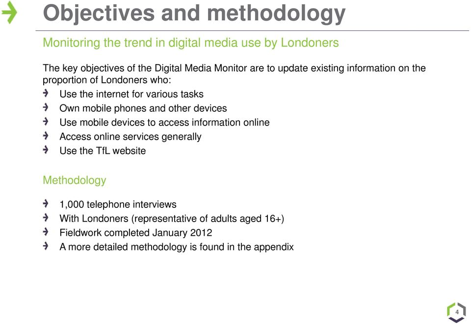 Use mobile devices to access information online Access online services generally Use the TfL website Methodology 1,000 telephone