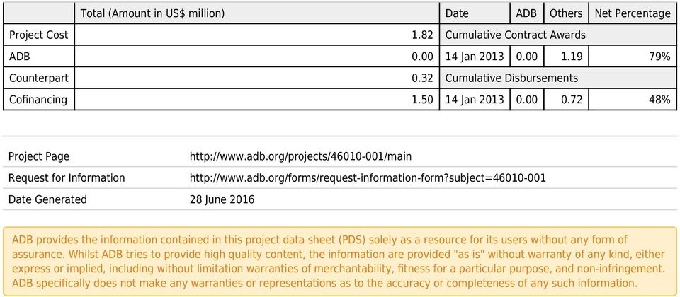 subject=46010-001 Date Generated 28 June 2016 ADB provides the information contained in this project data sheet (PDS) solely as a resource for its users without any form of assurance.