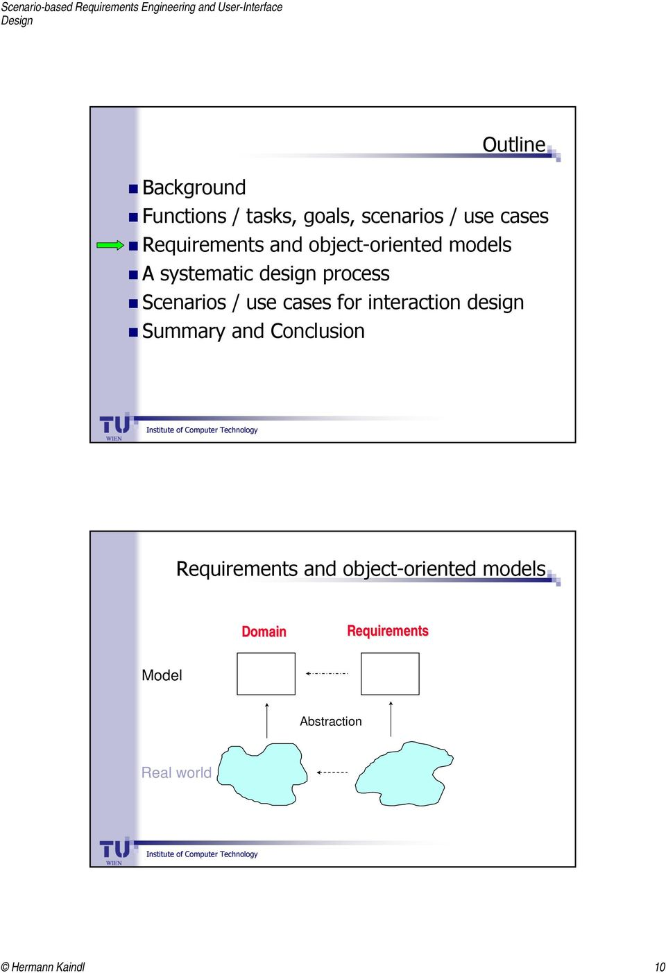 / use cases for interaction design Summary and Conclusion Requirements and