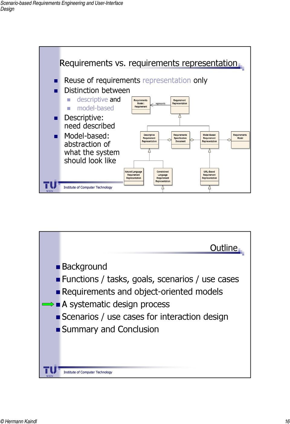 model-based Descriptive: need described Model-based: abstraction of what the system should look like Outline