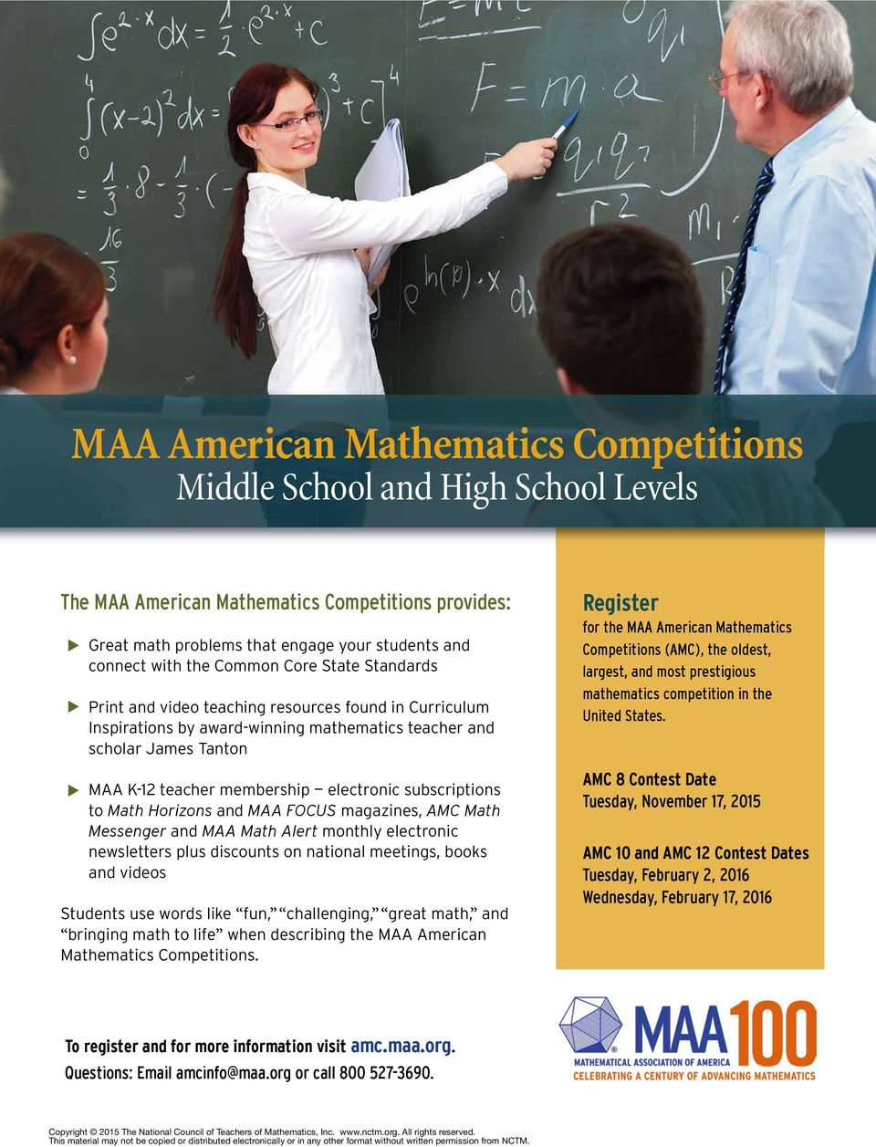subscriptions to Math Horizons and MAA FOCUS magazines, AMC Math Messenger and MAA Math Alert monthly electronic newsletters plus discounts on national meetings, books and videos Students use words