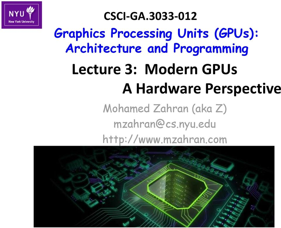 Architecture and Programming Lecture 3: Modern