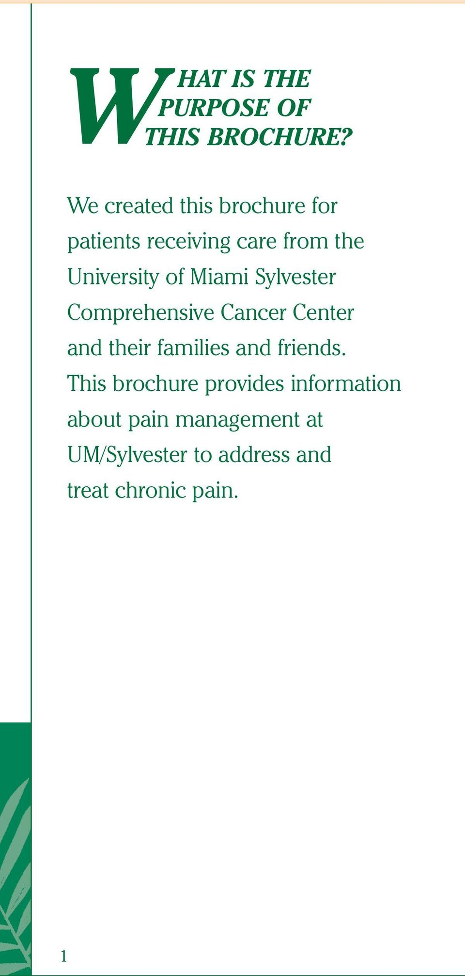 of Miami Sylvester Comprehensive Cancer Center and their families and