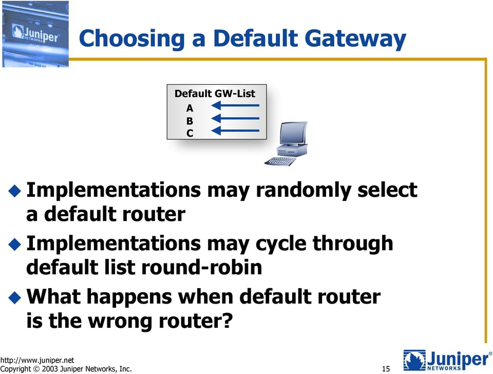 Implementations may cycle through default list round-robin What