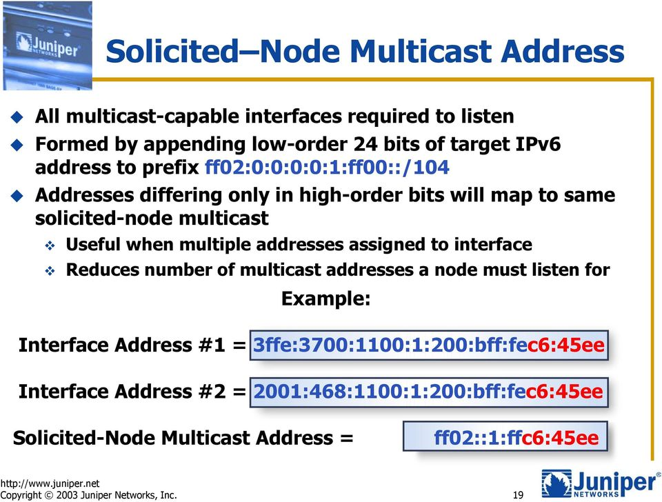 assigned to interface Reduces number of multicast addresses a node must listen for Example: Interface Address #1 = 3ffe:3700:1100:1:200:bff:fec6:45ee