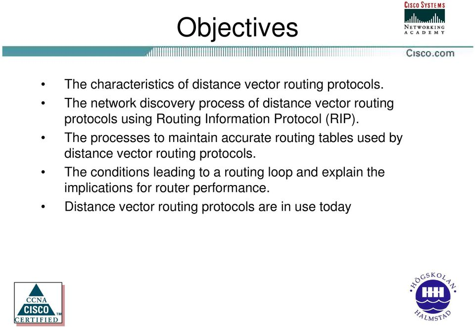 (RIP). The processes to maintain accurate routing tables used by distance vector routing protocols.
