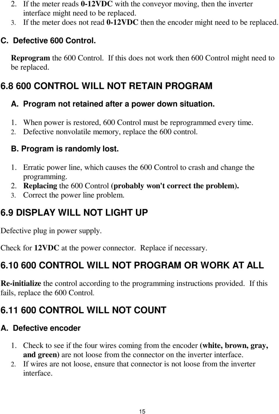 Program not retained after a power down situation. 1. When power is restored, 600 Control must be reprogrammed every time. 2. Defective nonvolatile memory, replace the 600 control. B.