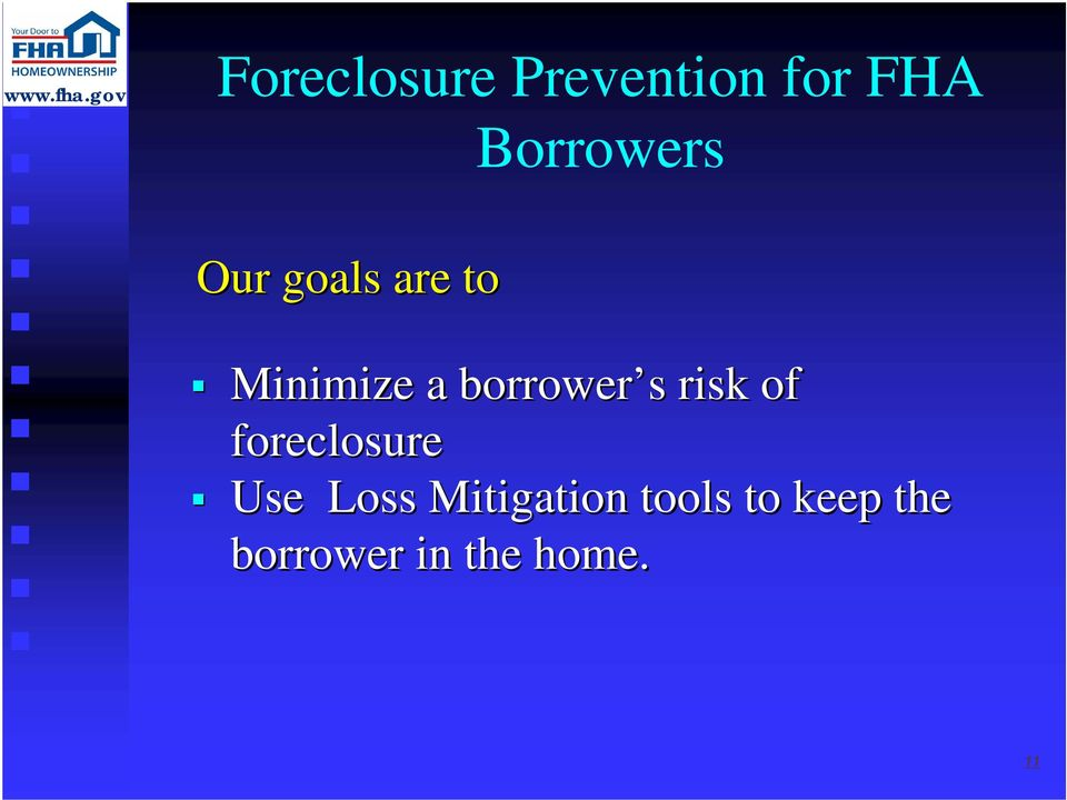 risk of foreclosure Use Loss