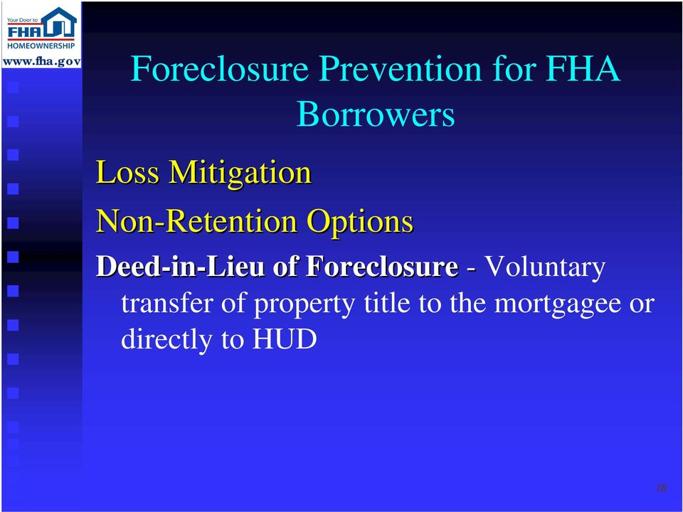 in-lieu of Foreclosure - Voluntary transfer