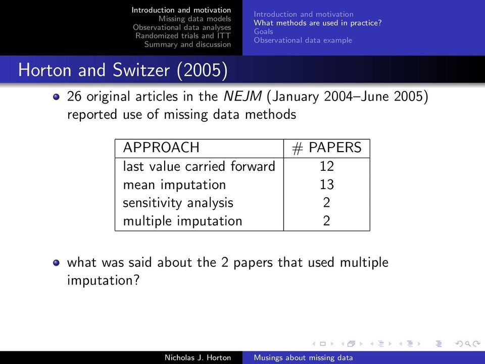 reported use of missing data methods APPROACH # PAPERS last value carried forward 12 mean