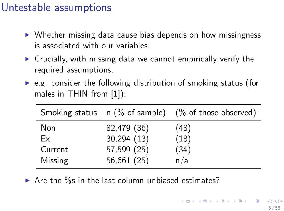 data we cannot empirically verify the required assumptions. e.g.