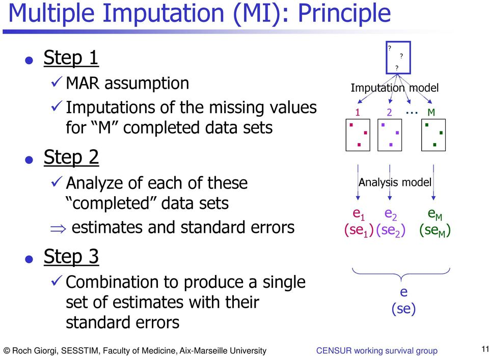 single set of estimates with their standard errors 1...? Imputation model? 2.