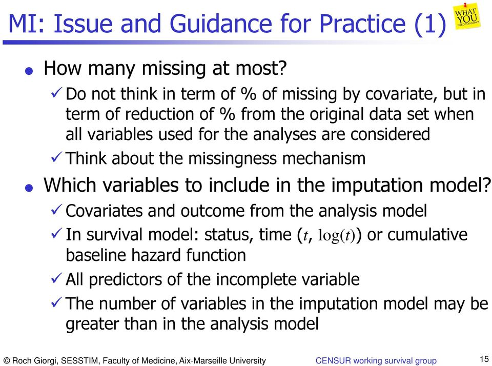 about the missingness mechanism Which variables to include in the imputation model?