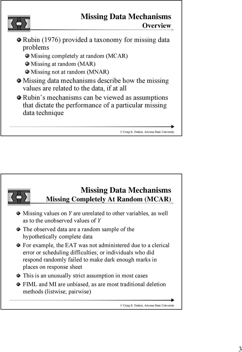 Missing Data Mechanisms Missing Completely At Random (MCAR) Missing values on Y are unrelated to other variables, as well as to the unobserved values of Y The observed data are a random sample of the