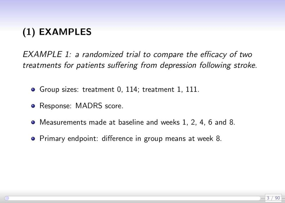 Group sizes: treatment 0, 114; treatment 1, 111. Response: MADRS score.