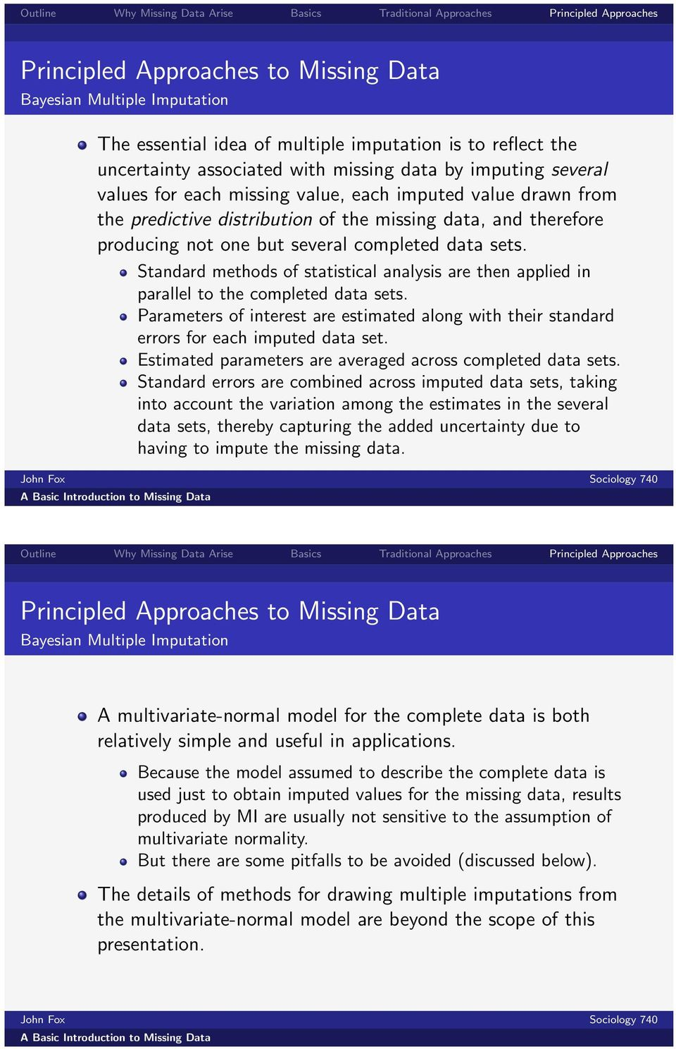 Standard methods of statistical analysis are then applied in parallel to the completed data sets. Parameters of interest are estimated along with their standard errors for each imputed data set.