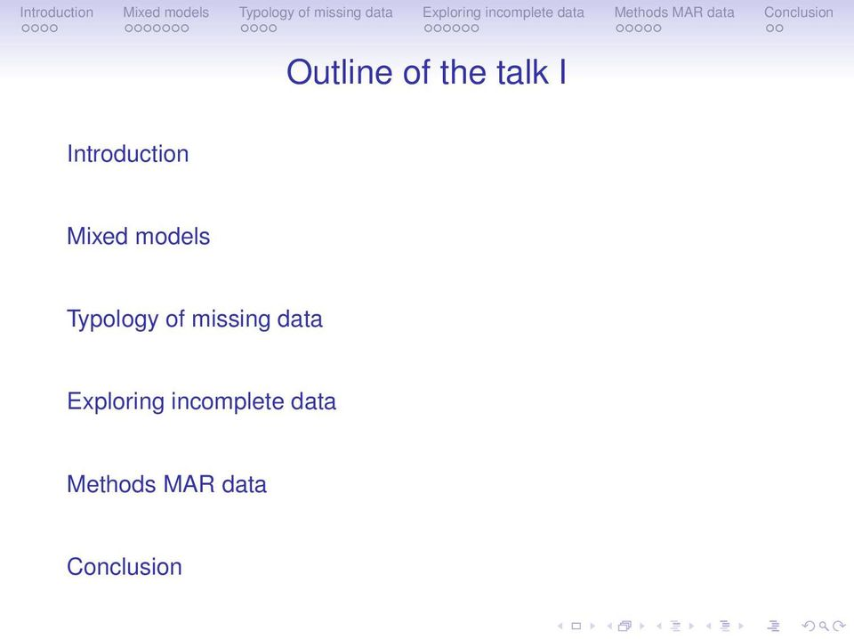 Typology of missing data