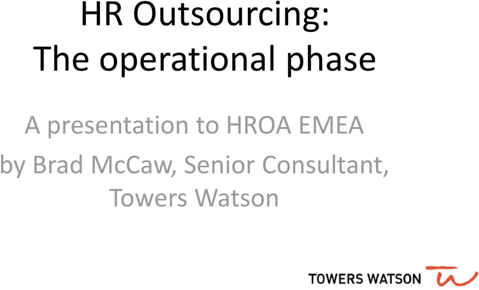 presentation to HROA EMEA by