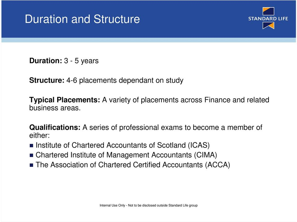 Qualifications: A series of professional exams to become a member of either: Institute of Chartered