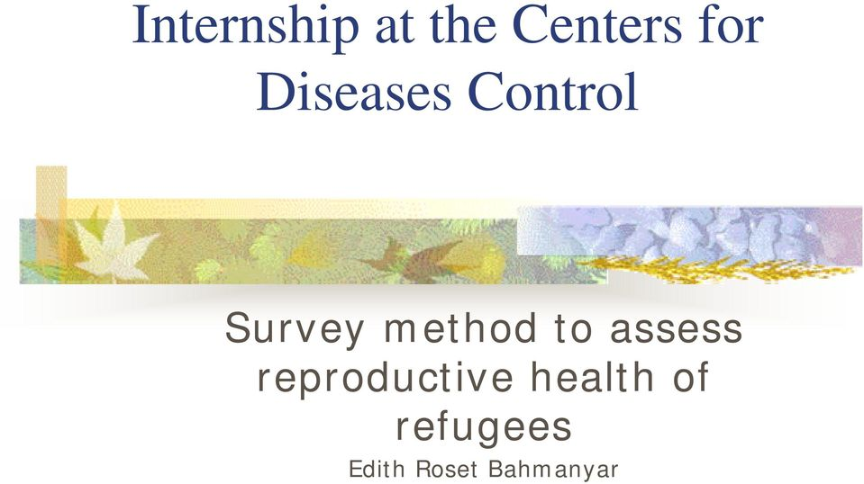 to assess reproductive health