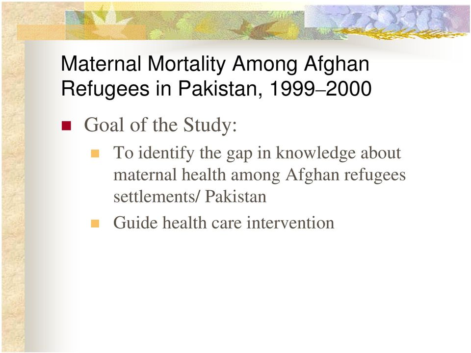 the gap in knowledge about maternal health among