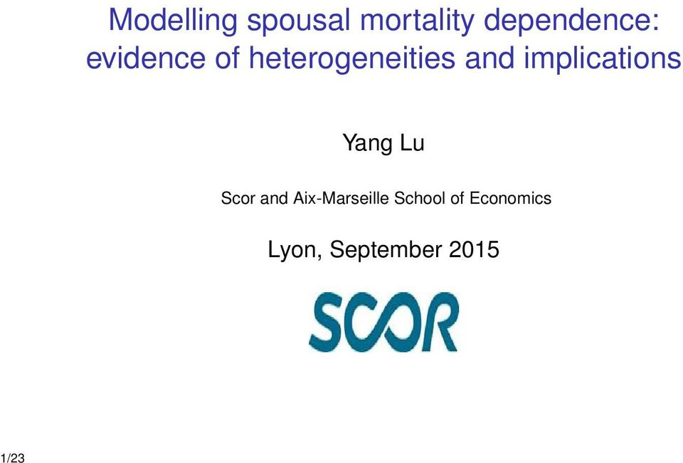 and implications Yang Lu Scor and