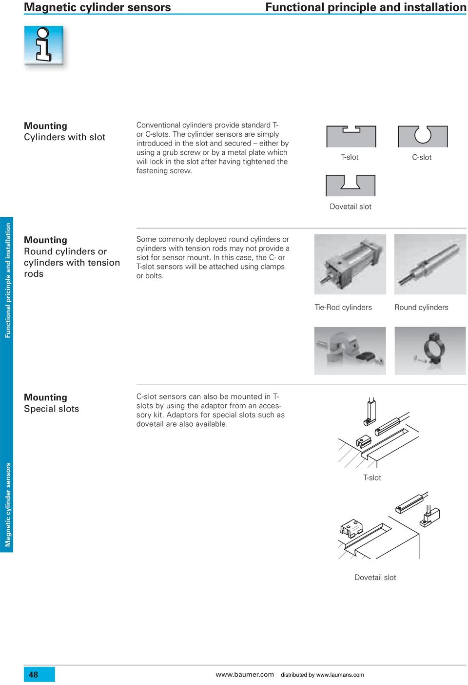 T-slot C-slot Dovetail slot Functional pricinple and installation Mounting Round cylinders or cylinders with tension rods Some commonly deployed round cylinders or cylinders with tension rods may not