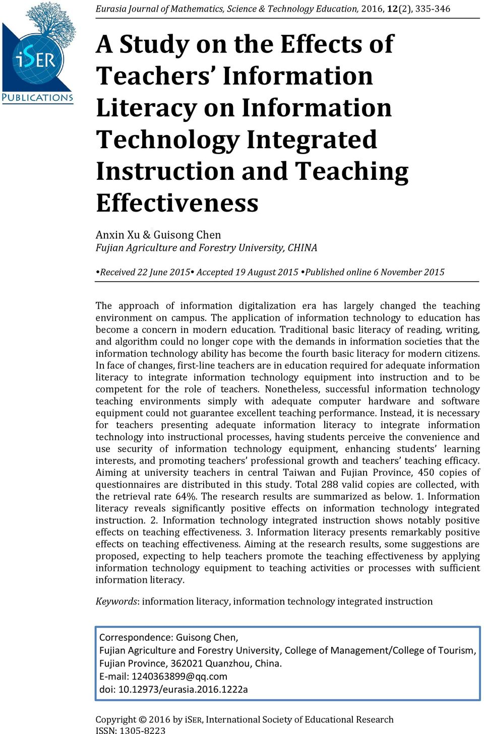 A Study On The Effects Of Teachers Information Literacy On