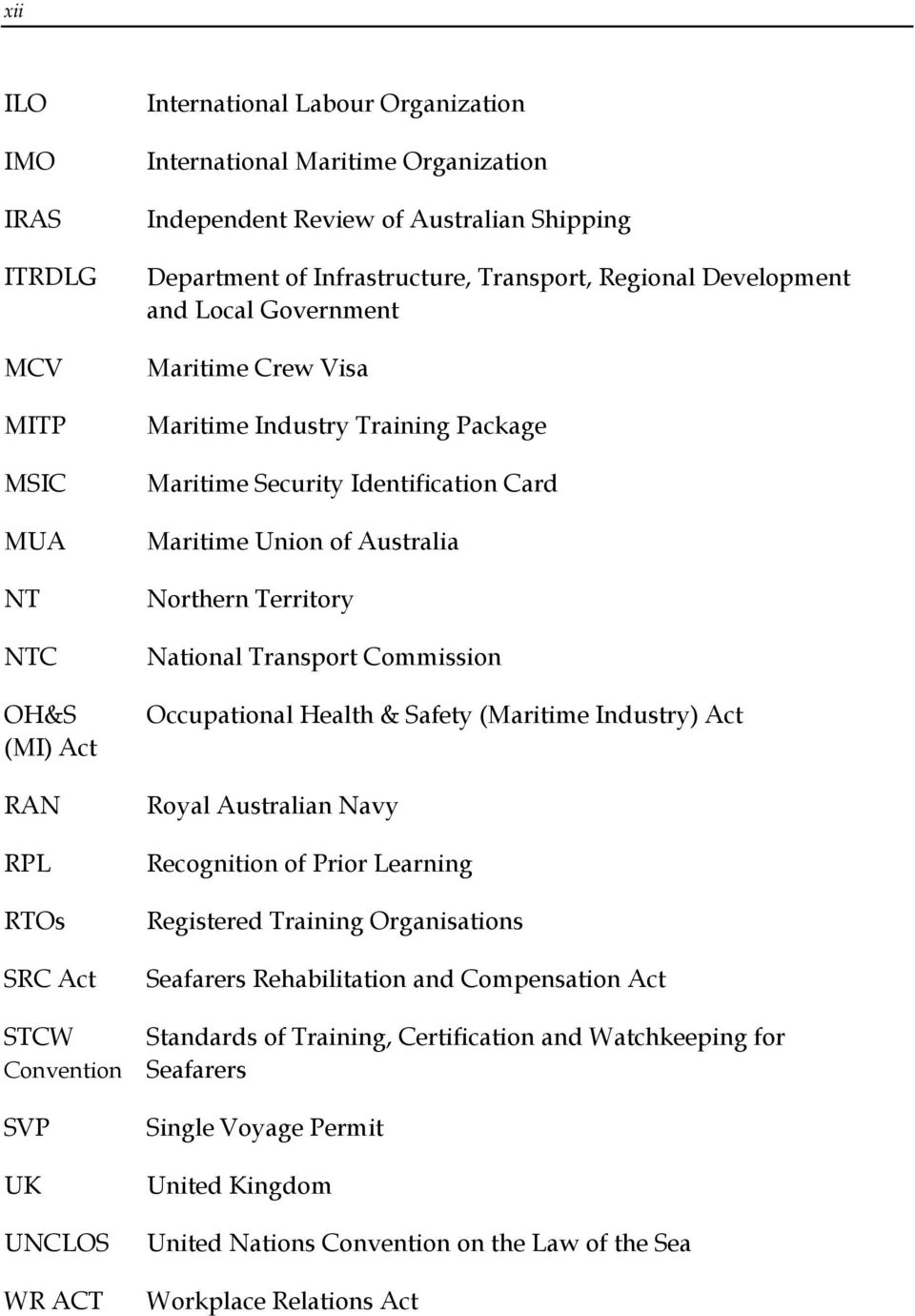 Identification Card Maritime Union of Australia Northern Territory National Transport Commission Occupational Health & Safety (Maritime Industry) Act Royal Australian Navy Recognition of Prior