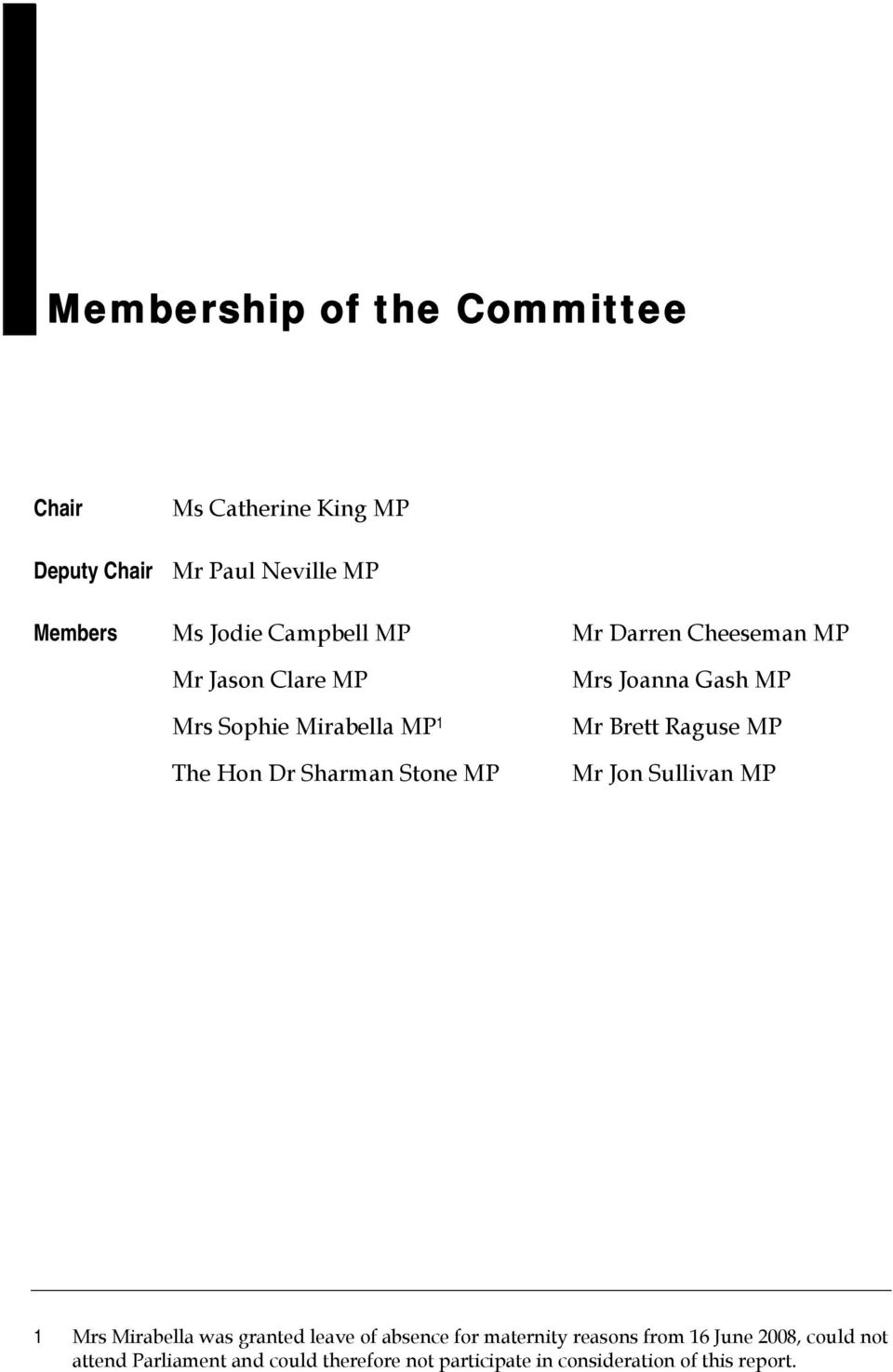 Gash MP Mr Brett Raguse MP Mr Jon Sullivan MP 1 Mrs Mirabella was granted leave of absence for maternity reasons