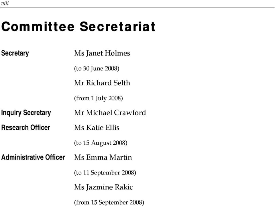 Michael Crawford Ms Katie Ellis (to 15 August 2008) Administrative Officer