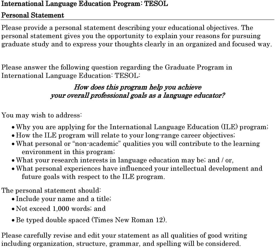 Please answer the following question regarding the Graduate Program in International Language Education: TESOL: How does this program help you achieve your overall professional goals as a language