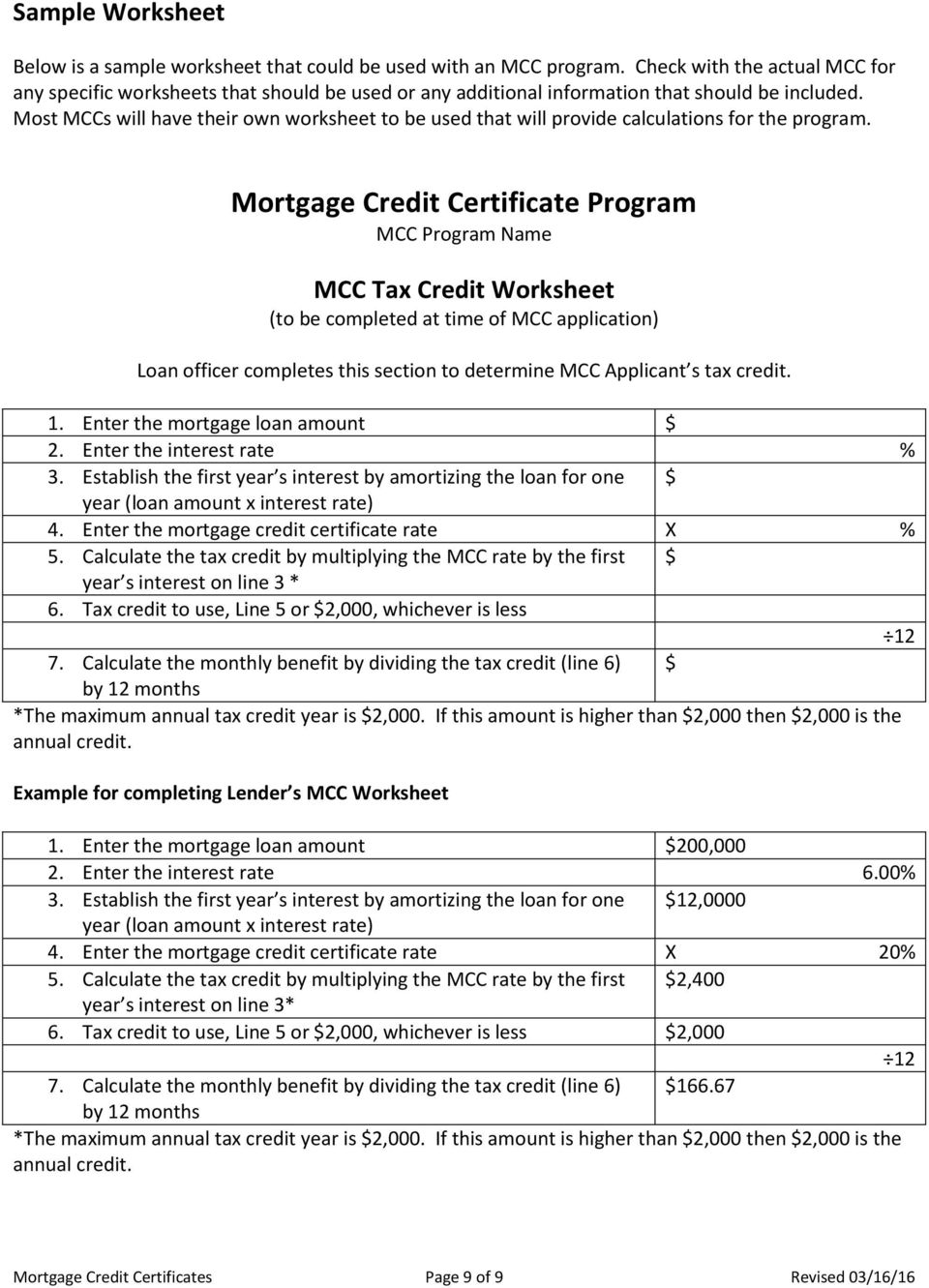 Mortgage Credit Certificates Pdf