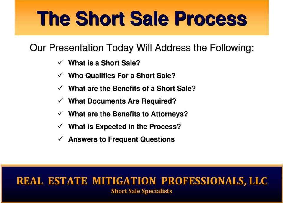 What are the Benefits of a Short Sale? What Documents Are Required?