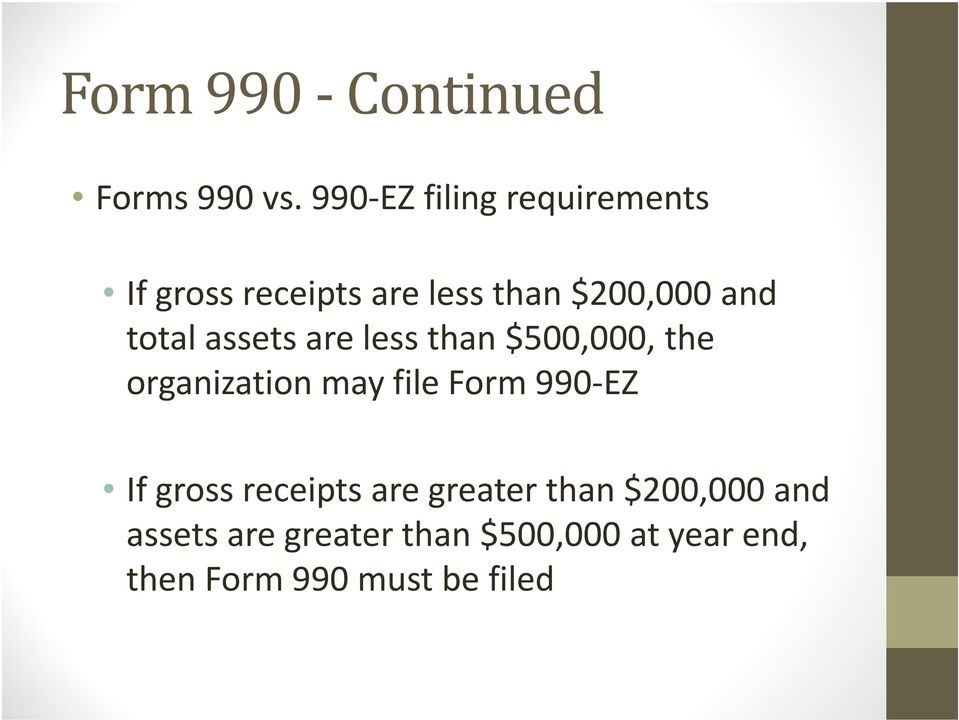 total assets are less than $500,000, the organization may file Form 990 EZ