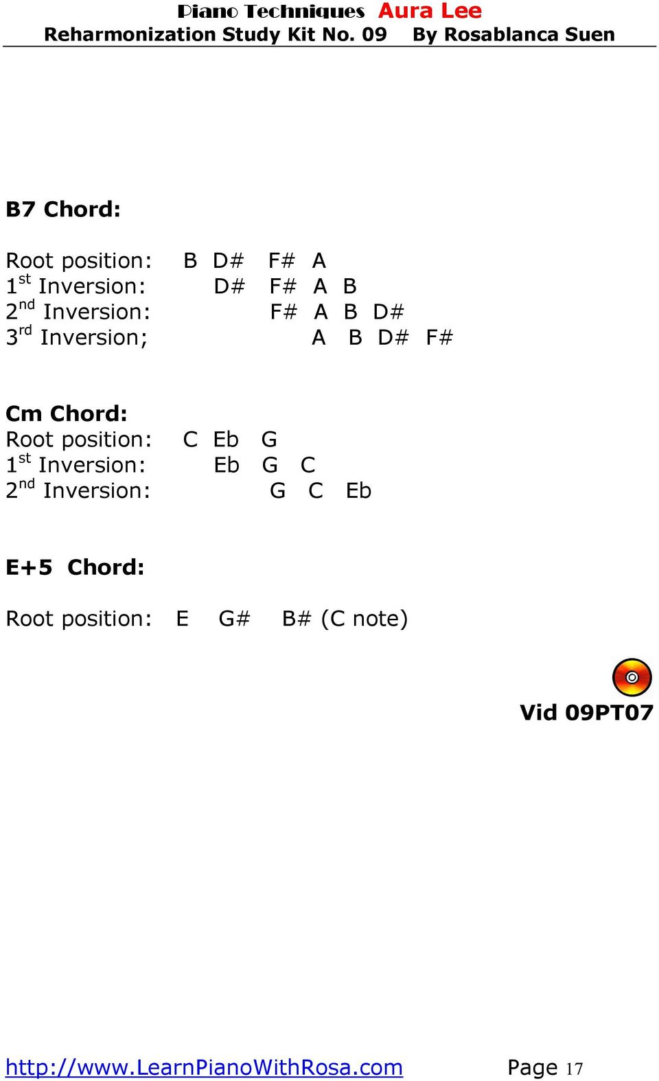 C Eb G 1 st Inversion: Eb G C 2 nd Inversion: G C Eb E+5 Chord: Root