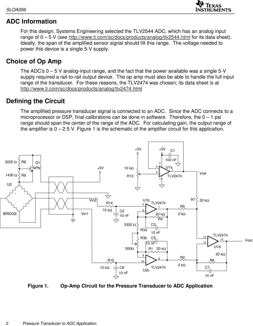Choice of Op Amp The ADC's 0 5 V analoginput range, and the fact that the power available was a single 5V supply required a railtorail output device.