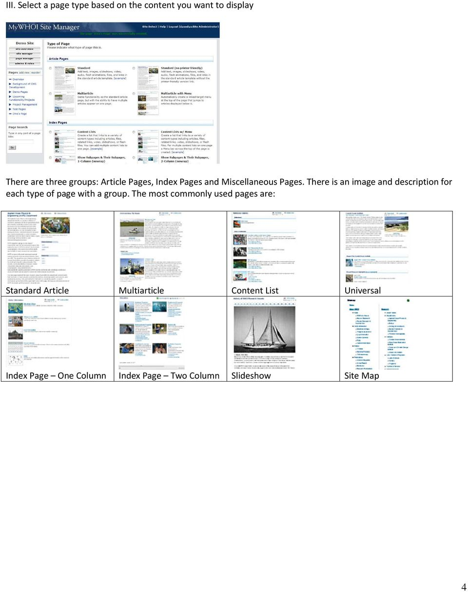 There is an image and description for each type of page with a group.