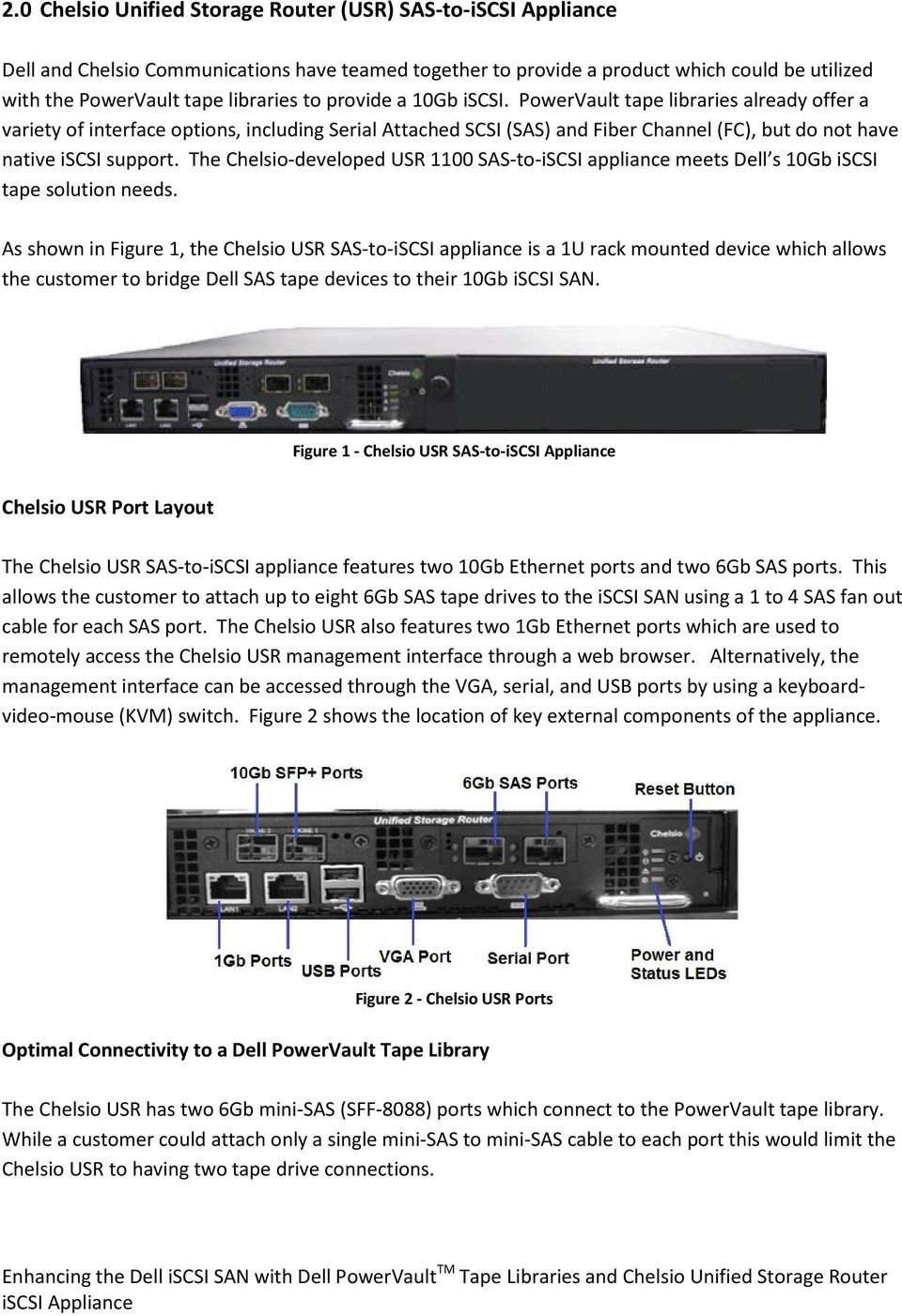 The Chelsio-developed USR 1100 SAS-to-iSCSI appliance meets Dell s 10Gb iscsi tape solution needs.