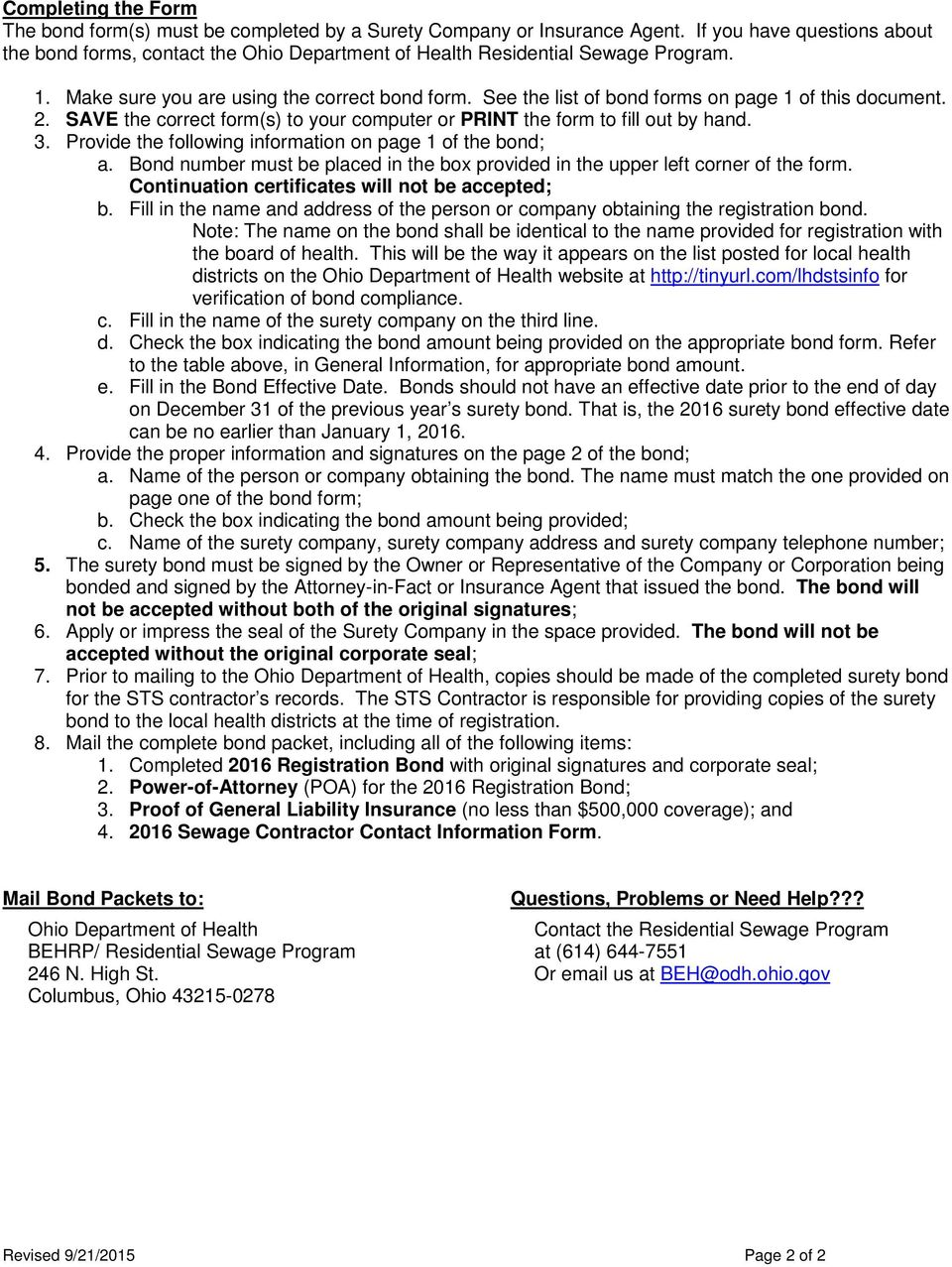See the list of bond forms on page 1 of this document. 2. SAVE the correct form(s) to your computer or PRINT the form to fill out by hand. 3.