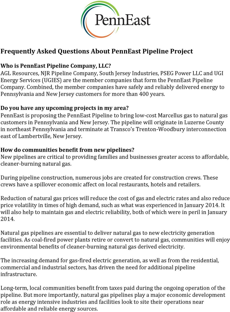 Frequently Asked Questions About PennEast Pipeline Project - PDF