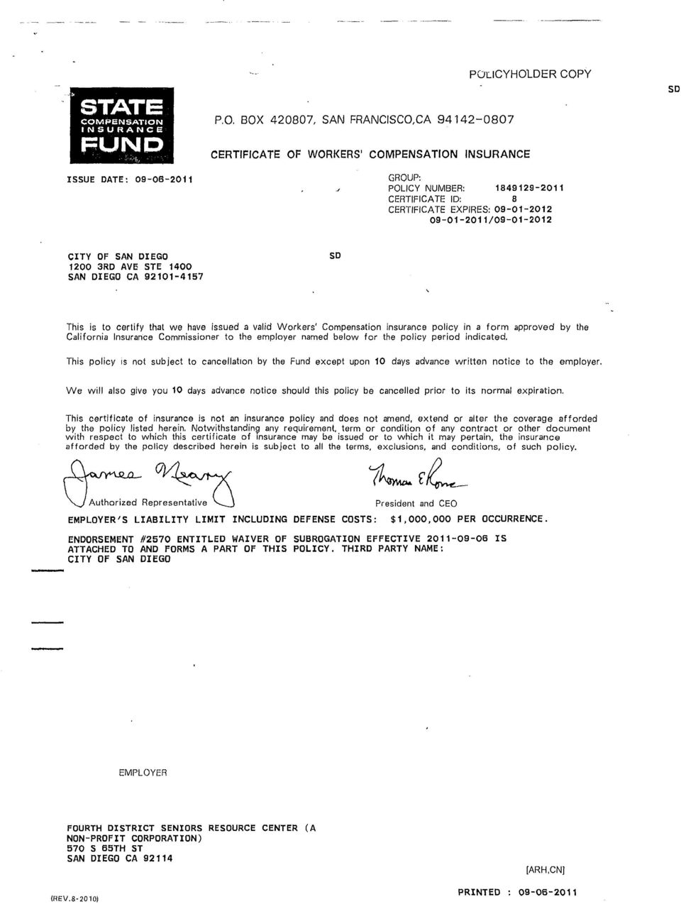 INSURANCE FUND ISSUE DATE: 09-06-2011 P.O.