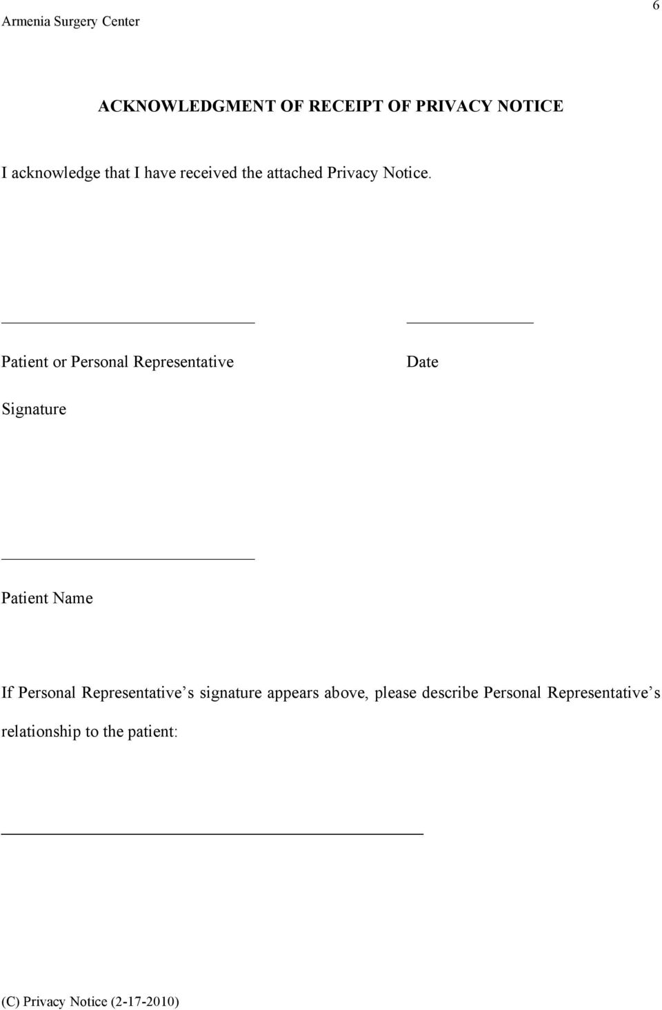 Patient or Personal Representative Date Signature Patient Name If Personal