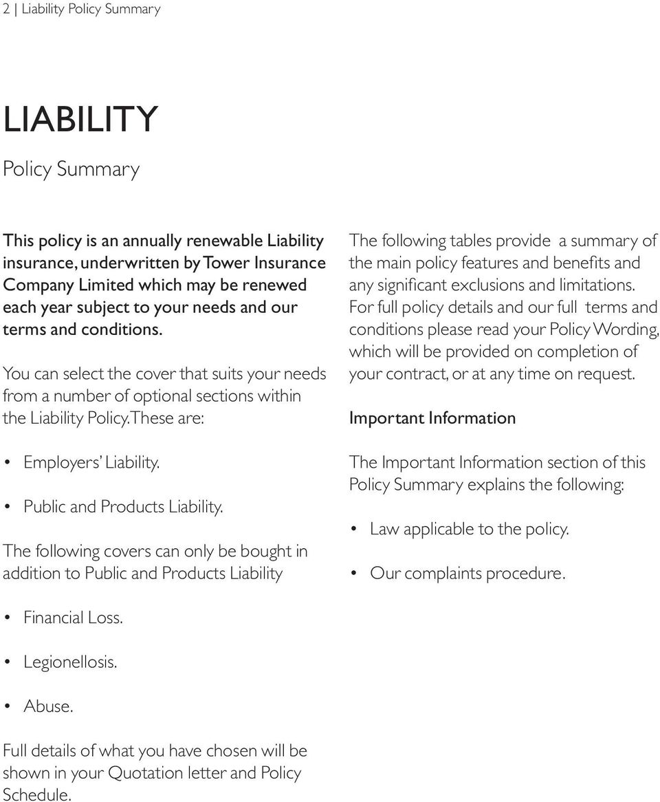 Public and Products Liability.