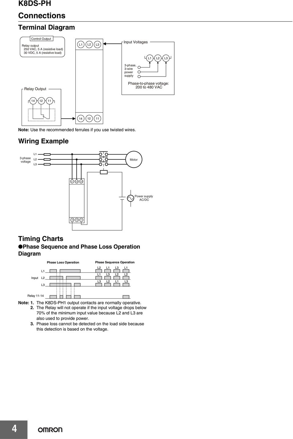 Wiring Example 3-phase voltage Motor Power supply AC/DC 14 12 11 Timing Charts Phase Sequence and Phase Loss Operation Diagram Input Phase Loss Operation Phase Sequence Operation Relay 11-14