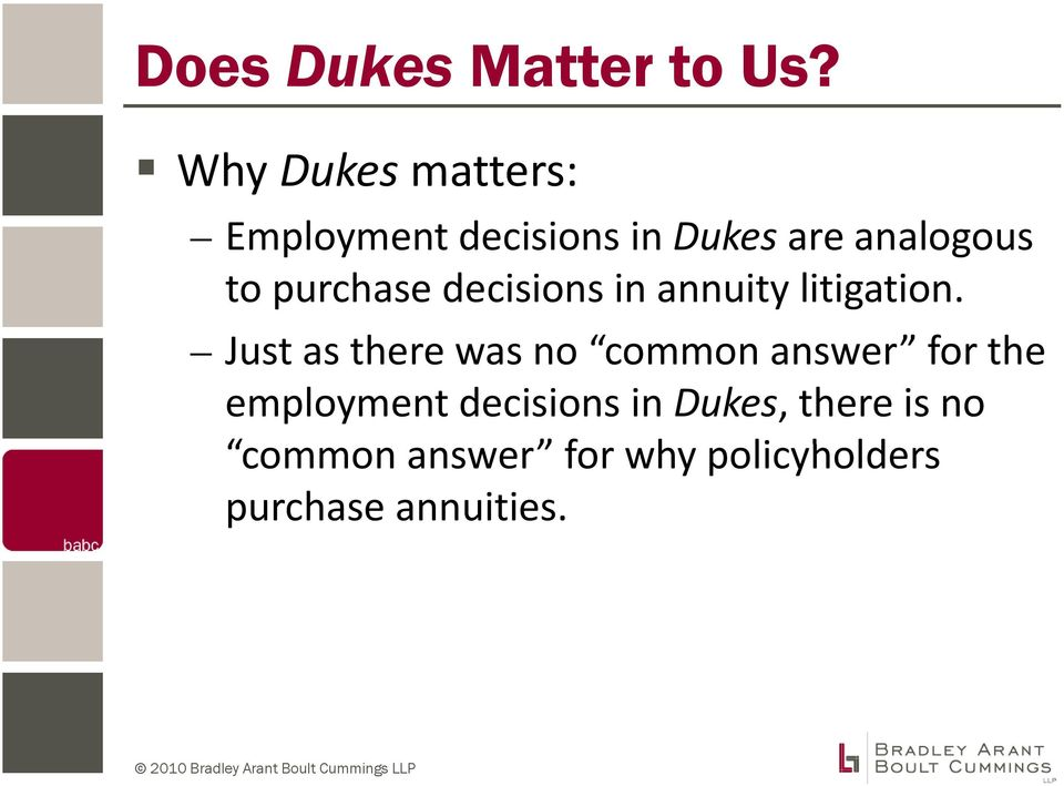 purchase decisions in annuity litigation.