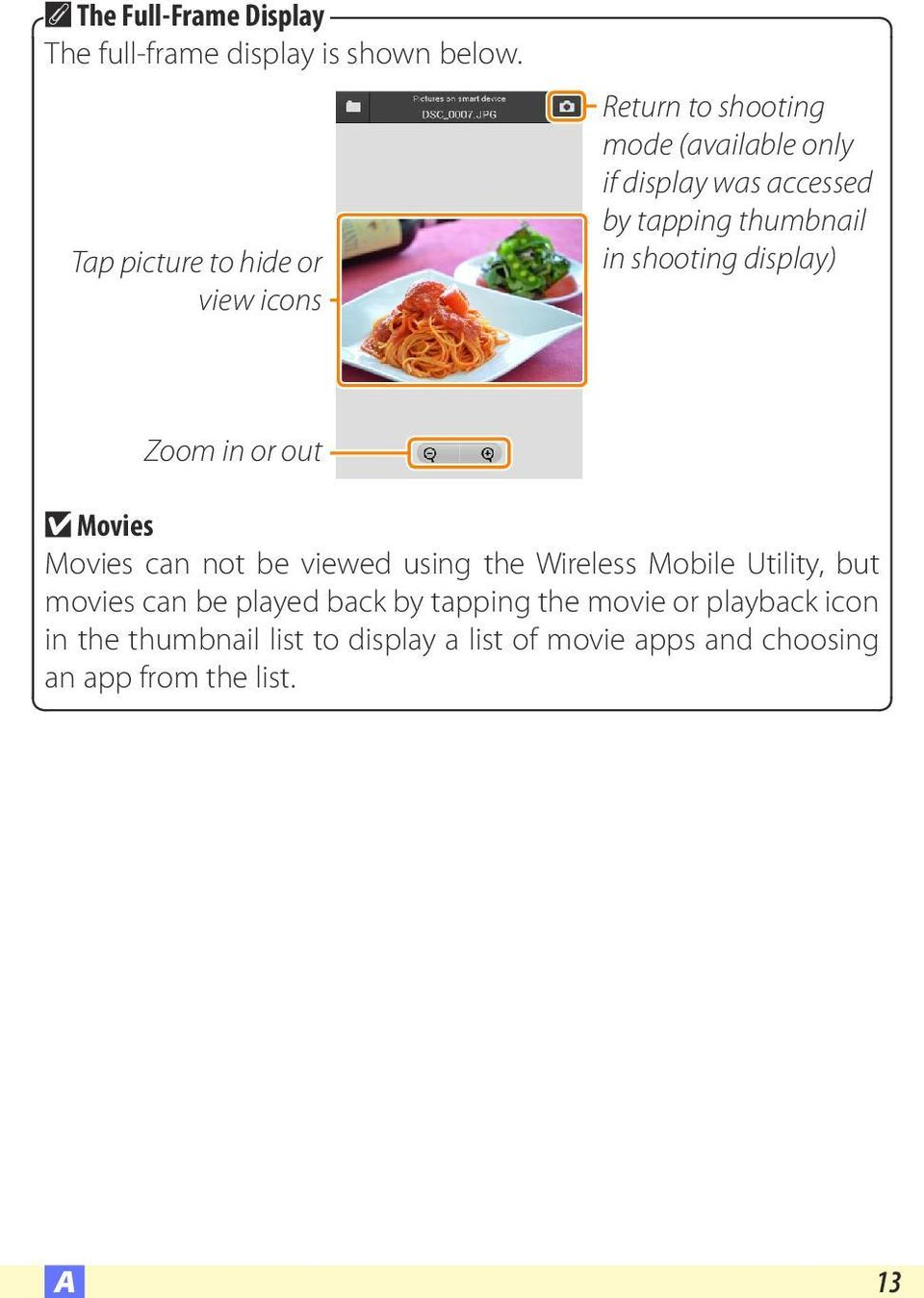 thumbnail in shooting display) Zoom in or out D Movies Movies can not be viewed using the Wireless Mobile