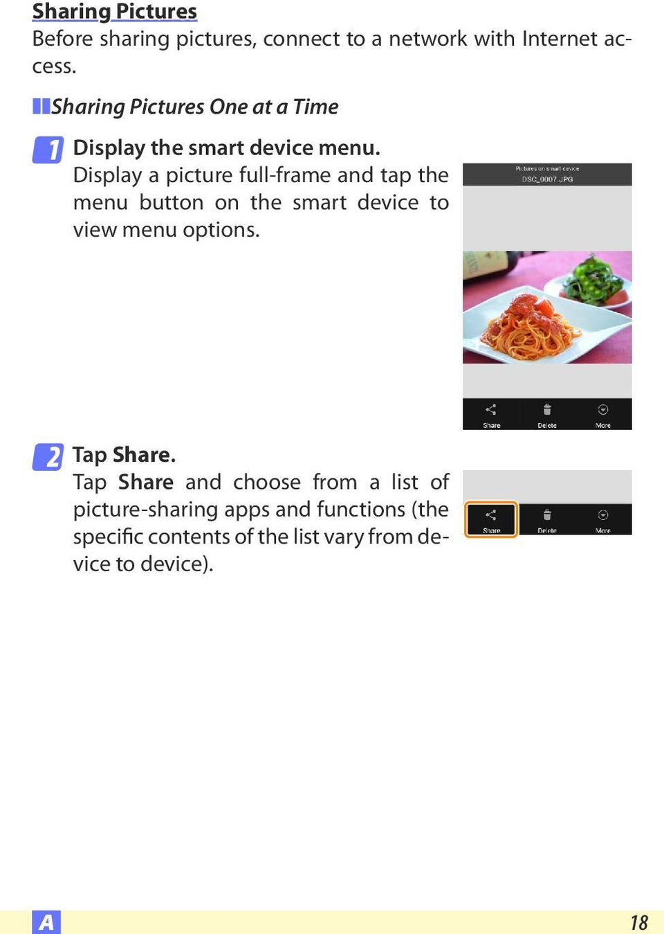 Display a picture full-frame and tap the menu button on the smart device to view menu options.