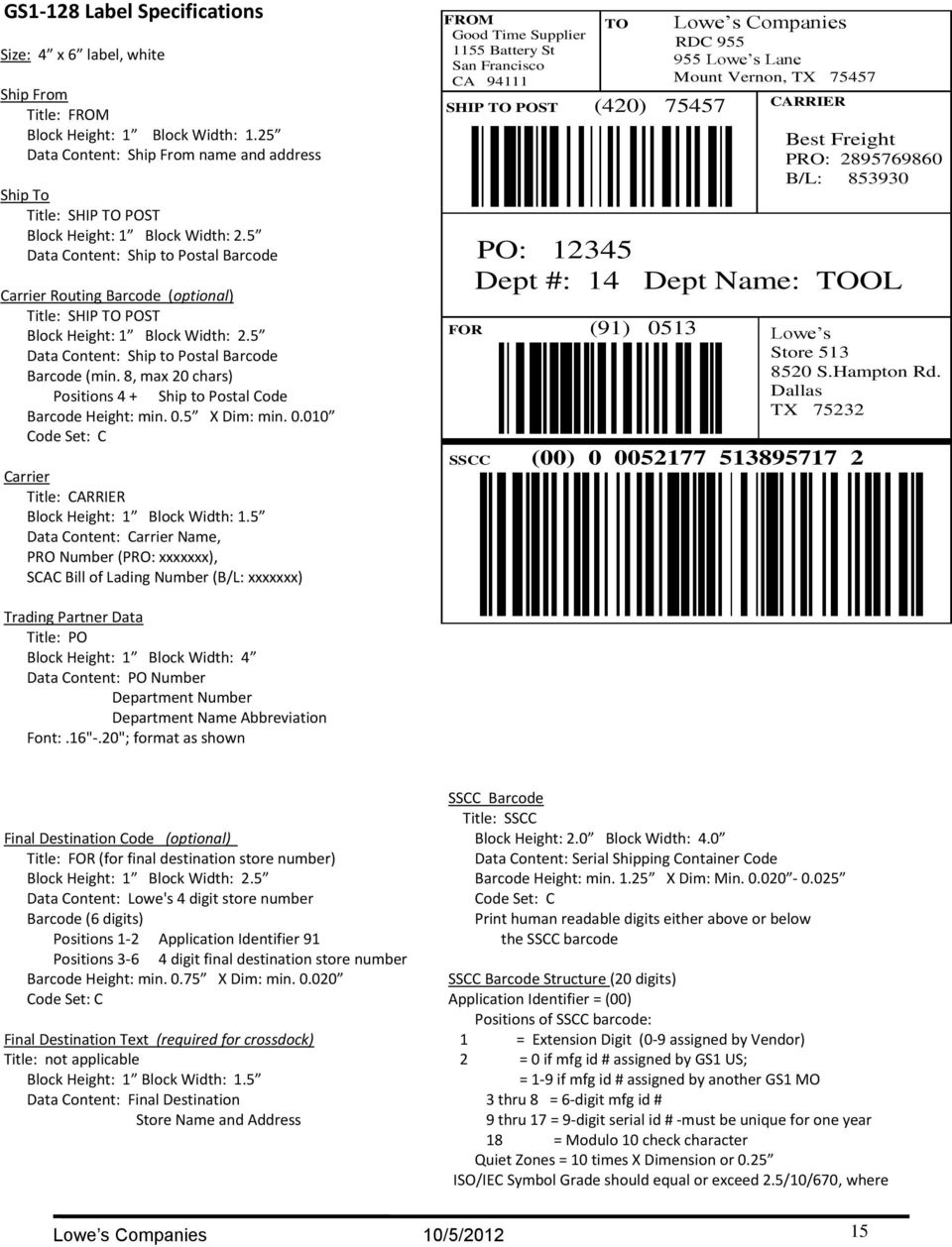 5 Data Content: Ship to Postal Barcode Carrier Routing Barcode (optional) Title: SHIP TO POST Block Height: 1 Block Width: 2.5 Data Content: Ship to Postal Barcode Barcode (min.