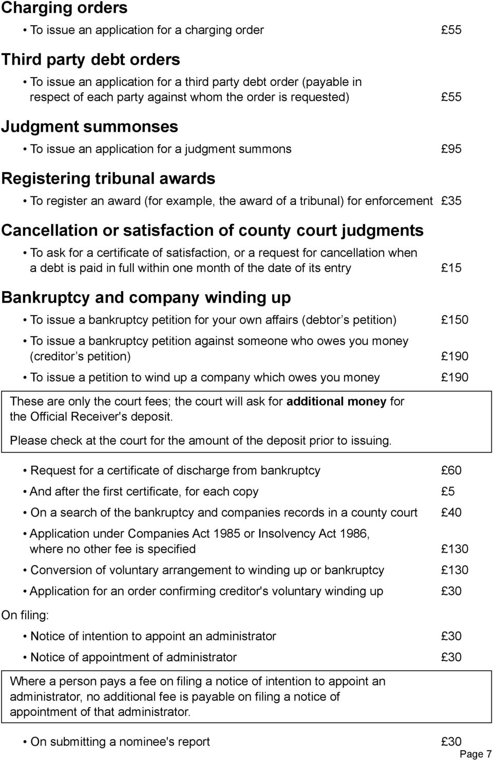 Cancellation or satisfaction of county court judgments To ask for a certificate of satisfaction, or a request for cancellation when a debt is paid in full within one month of the date of its entry 15